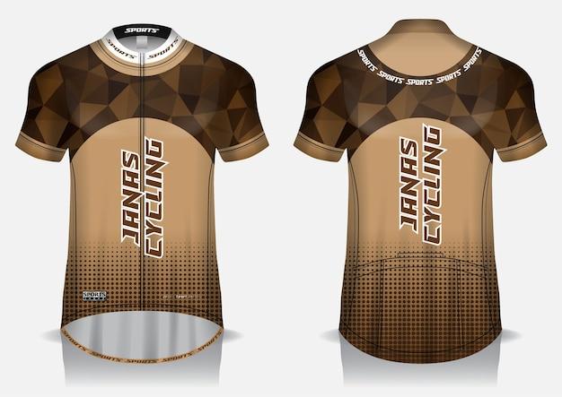 Modelo de malha de ciclismo marrom, uniforme, camiseta frontal e traseira Vetor Premium