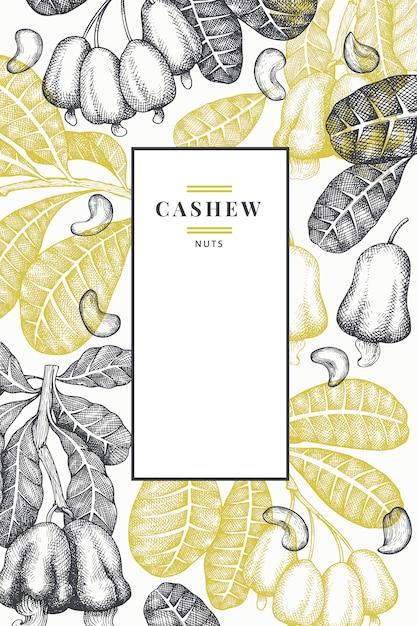 Modelo de mão desenhada esboço caju. ilustração de alimentos orgânicos em fundo branco. ilustração de porca vintage. Vetor Premium