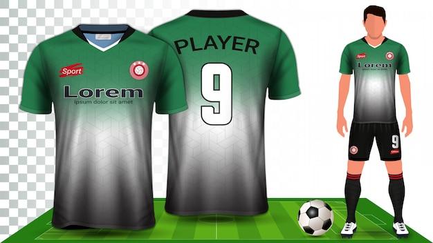 Modelo de maquete de apresentação uniforme de kit de futebol Vetor Premium