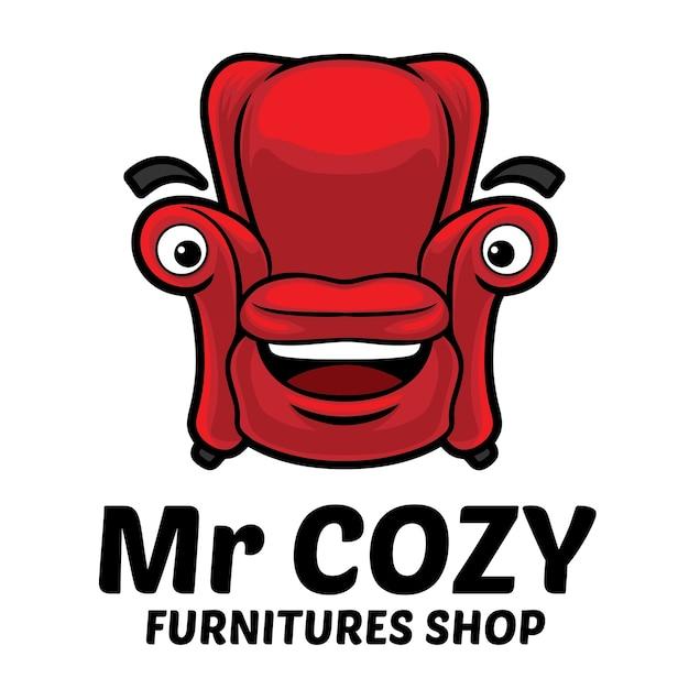 Modelo de mascote de logotipo de móveis de sofá aconchegante Vetor Premium