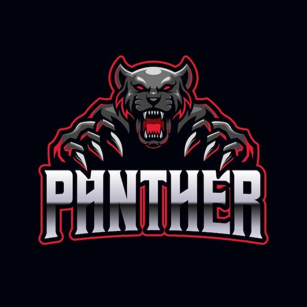 Modelo de mascote do logotipo do black panther e-sports para jogos Vetor Premium