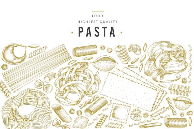 Modelo de massa italiana. mão desenhada comida ilustração. Vetor Premium