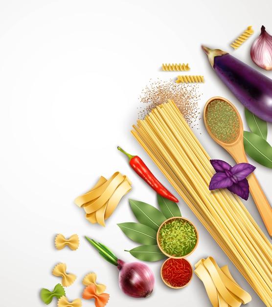 Modelo de massa realista com ingredientes e produtos para cozinhar Vetor grátis