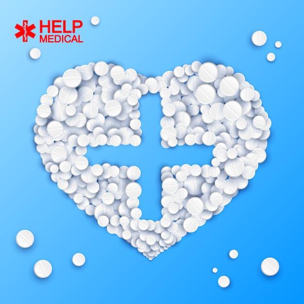 Modelo de medicamento abstrato com forma de coração cruzado de comprimidos em ilustração em azul claro Vetor grátis