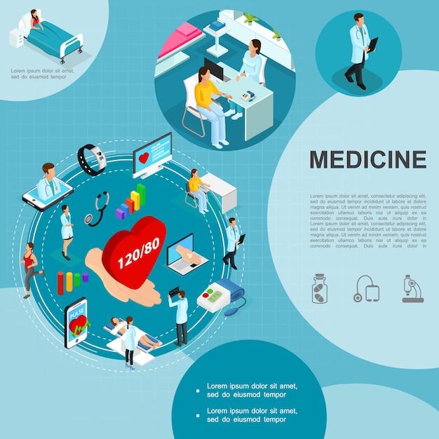 Modelo de medicina isométrica com consulta médica médicos paciente na enfermaria do hospital smartwatch móvel portátil mão segurando o estetoscópio tonometer coração Vetor grátis