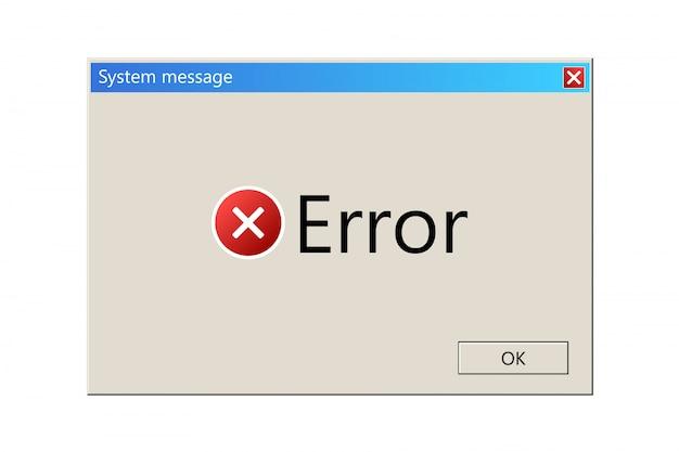 Modelo de mensagem do sistema operacional, janela de erro. Vetor Premium