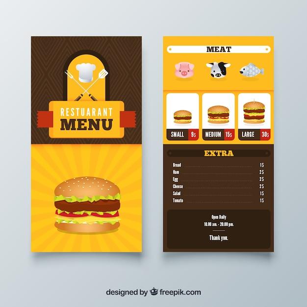 Modelo de menu burger restaurante com design plano Vetor grátis