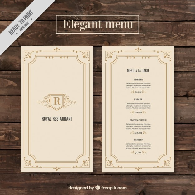Menu De Restaurant Chic