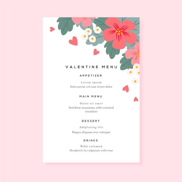 Modelo de menu colorido dia dos namorados Vetor grátis