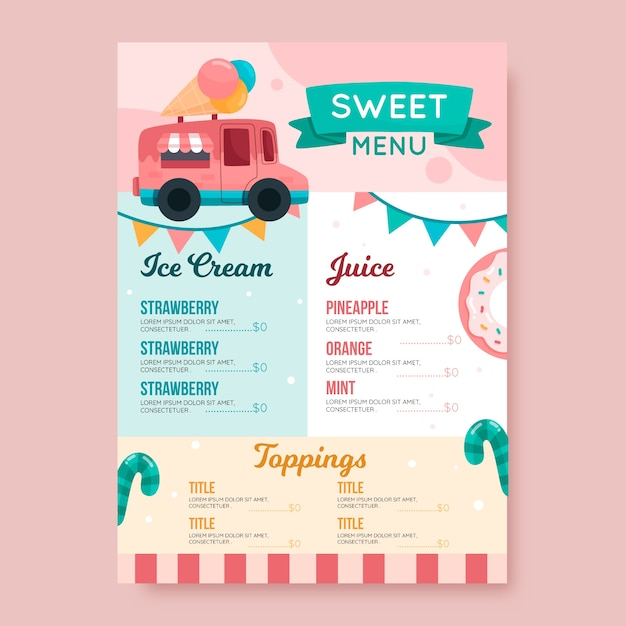 Modelo de menu colorido restaurante doce Vetor grátis