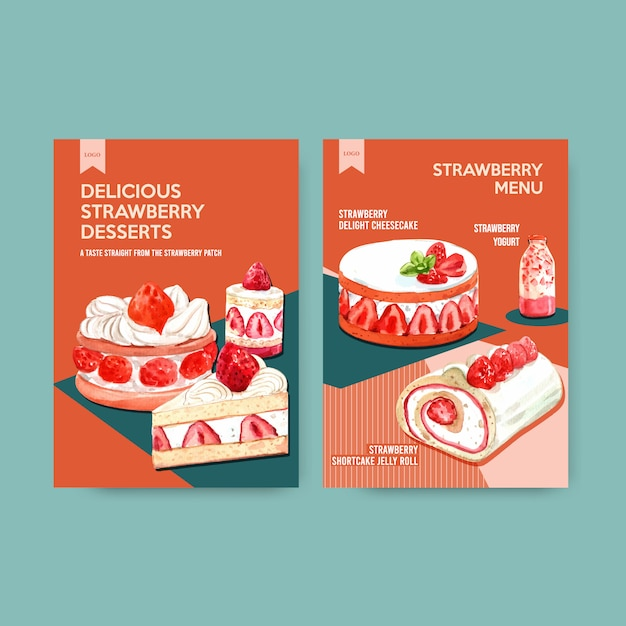 Modelo de menu com design de cozimento de morango para restaurante, café, bistrô e comida loja ilustração aquarela Vetor grátis