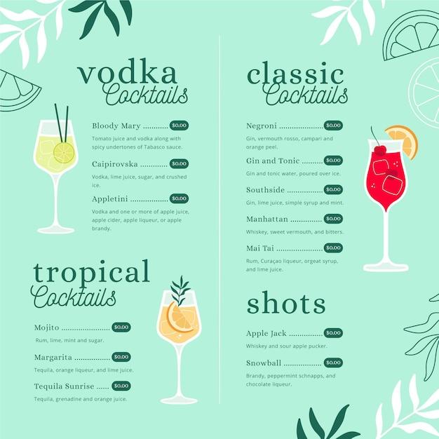 Modelo de menu criativo cocktail com ilustrações Vetor grátis