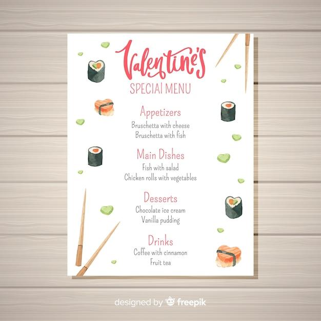Modelo de menu de aquarela sushi dos namorados Vetor grátis