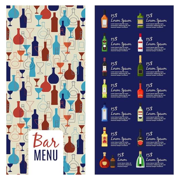 Modelo de menu de bar. modelo de folheto de livreto de menu de álcool com padrão de garrafas, ilustração vetorial Vetor Premium