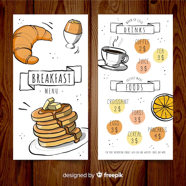 Modelo de menu de café da manhã desenhado mão Vetor grátis
