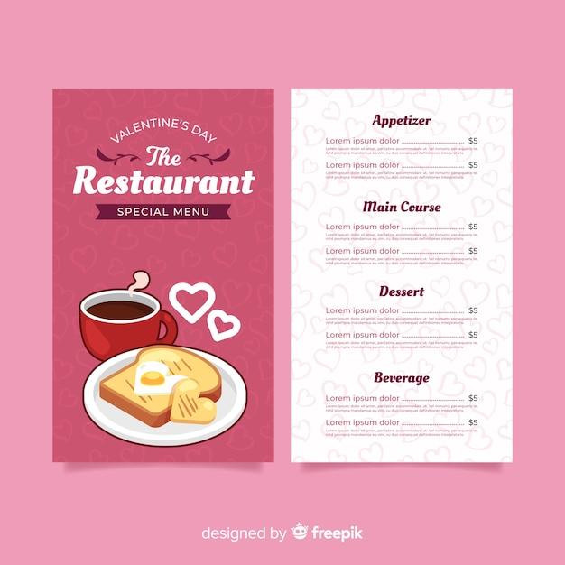 Modelo de menu de café da manhã dos namorados Vetor grátis