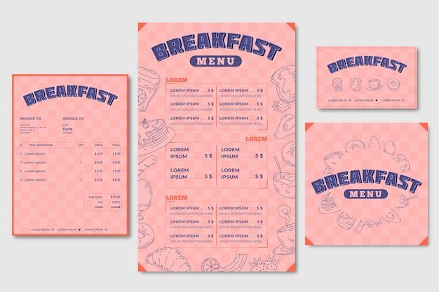 Modelo de menu de café da manhã e cartão de visita Vetor grátis