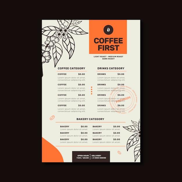 Modelo de menu de café e restaurante Vetor grátis