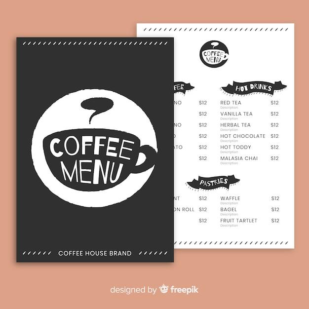 Modelo de menu de café Vetor grátis