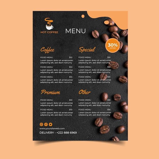 Modelo de menu de cafeteria Vetor Premium