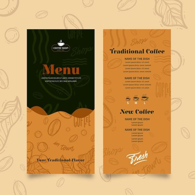 Modelo de menu de cafeteria Vetor grátis