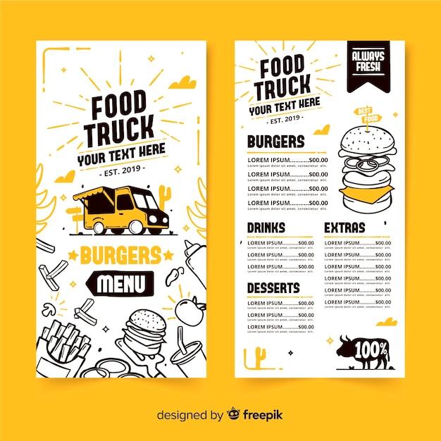 Modelo de menu de caminhão de comida mão desenhada Vetor grátis