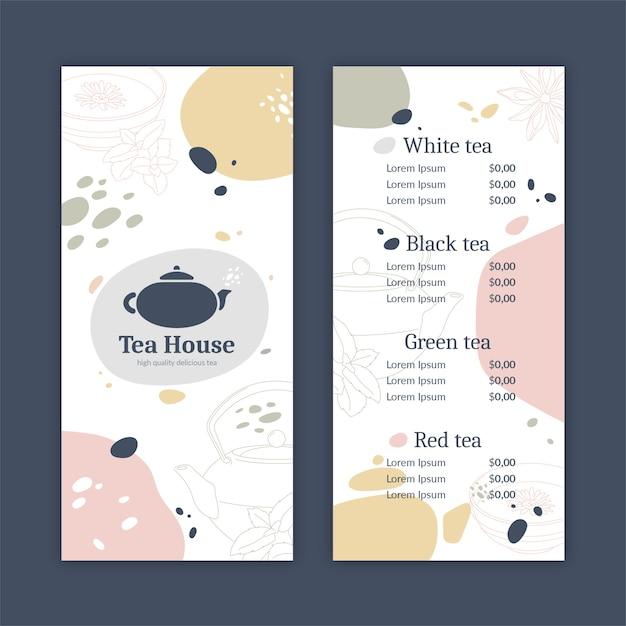 Modelo de menu de casa de chá abstrata Vetor grátis
