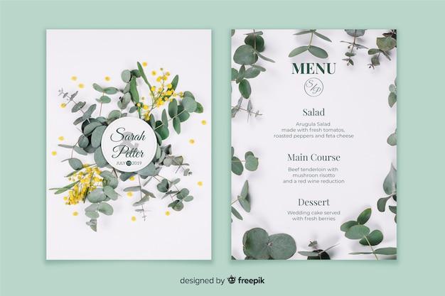Modelo de menu de casamento com foto Vetor grátis