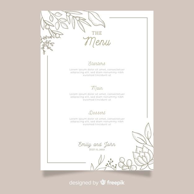 Modelo de menu de casamento desenhada de mão Vetor grátis