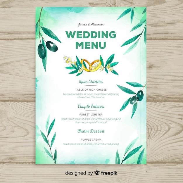 Modelo de menu de casamento estilo aquarela Vetor grátis