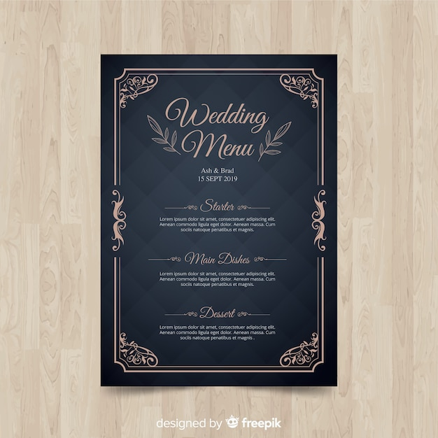 Modelo de menu de casamento Vetor grátis