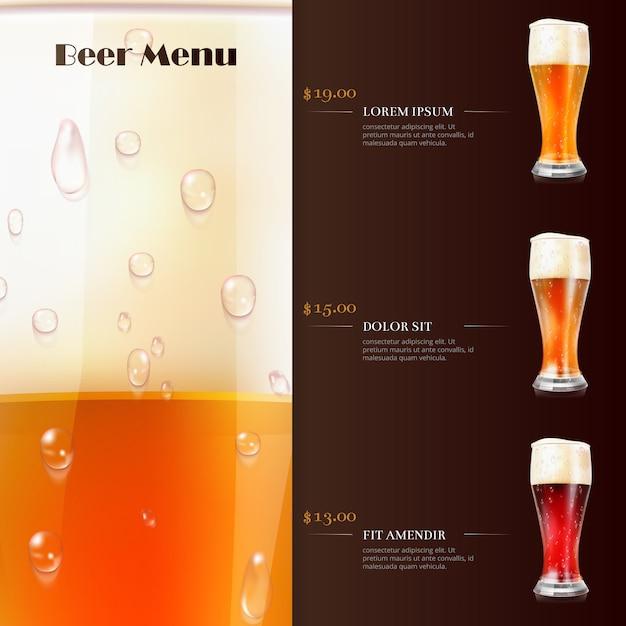 Modelo de menu de cerveja com copos realistas de cerveja Vetor Premium
