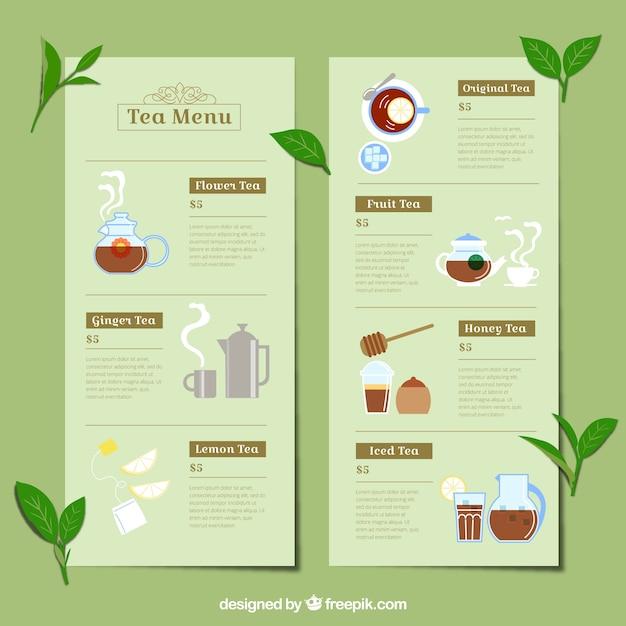 Modelo de menu de chá com bebidas diferentes Vetor grátis