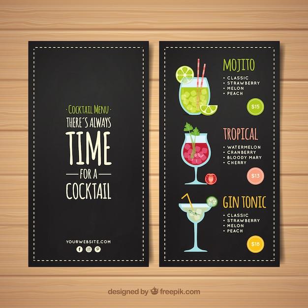 Modelo de menu de cocktails em estilo quadro-negro Vetor grátis