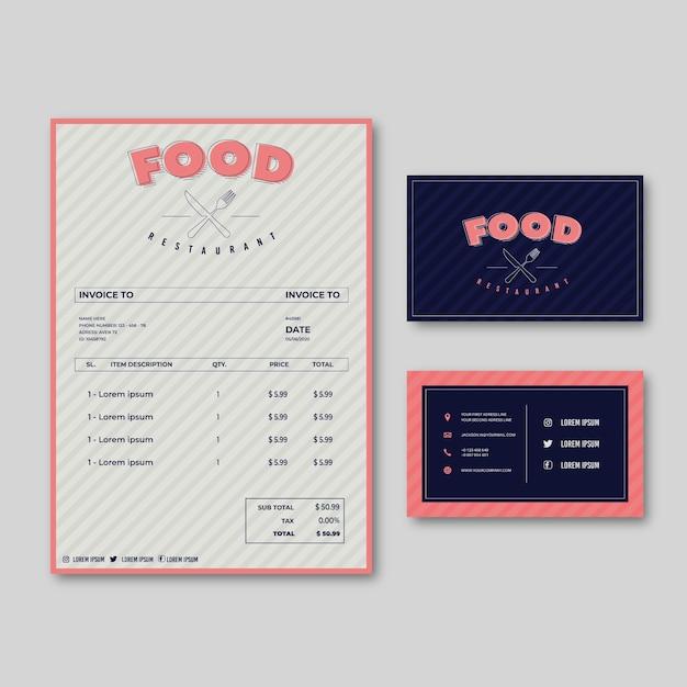 Modelo de menu de comida de restaurante Vetor grátis