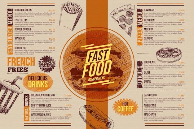 Modelo de menu de comida para uso digital ilustrado Vetor grátis
