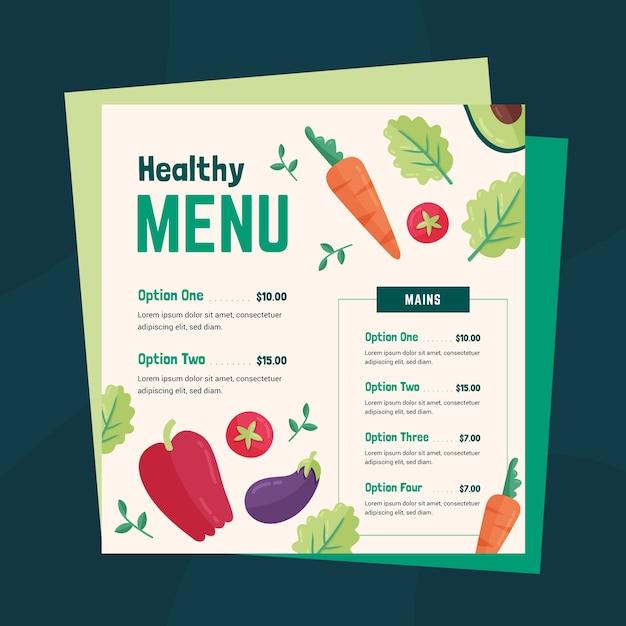 Modelo de menu de comida saudável Vetor grátis