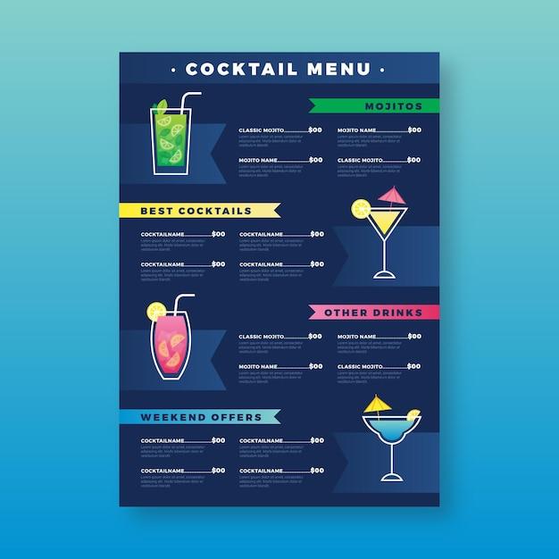 Modelo de menu de coquetel Vetor grátis