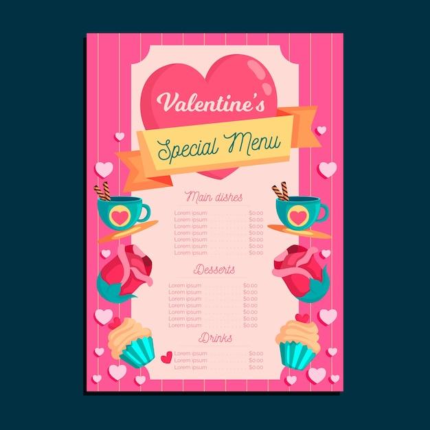 Modelo de menu de design plano dia dos namorados Vetor grátis