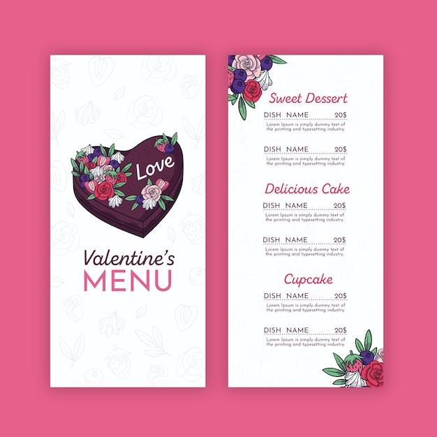 Modelo de menu de dia dos namorados com flores Vetor grátis