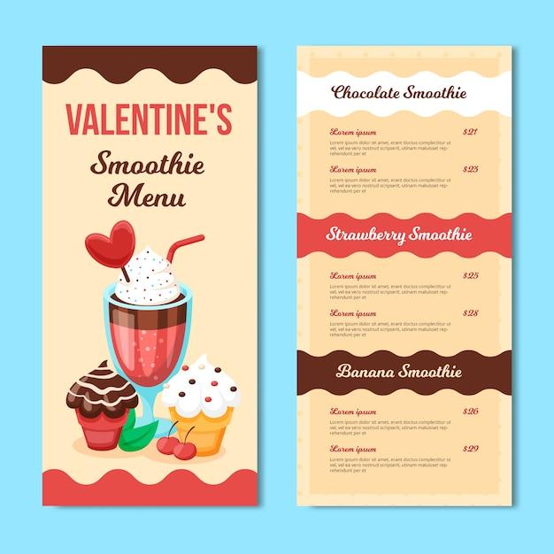 Modelo de menu de dia dos namorados com smoothie Vetor grátis