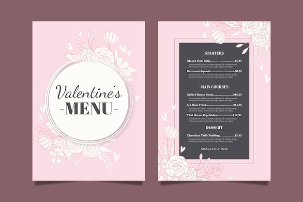 Modelo de menu de dia dos namorados design plano Vetor grátis
