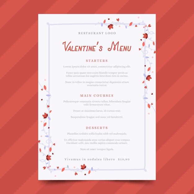 Modelo de menu de dia dos namorados em design plano Vetor grátis