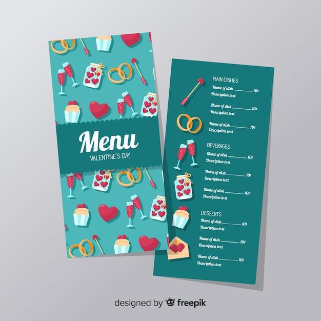 Modelo de menu de elementos dos namorados Vetor grátis