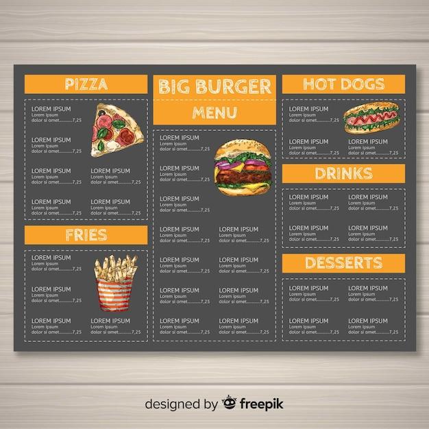 Modelo de menu de fast-food de mão desenhada Vetor grátis