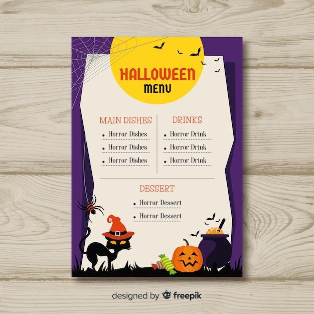 Modelo de menu de halloween colorido com design liso Vetor grátis