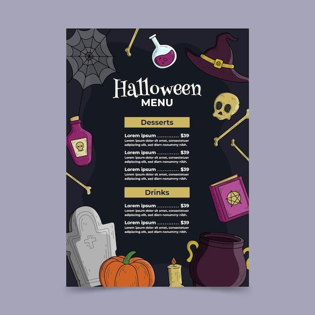 Modelo de menu de halloween desenhado à mão Vetor grátis