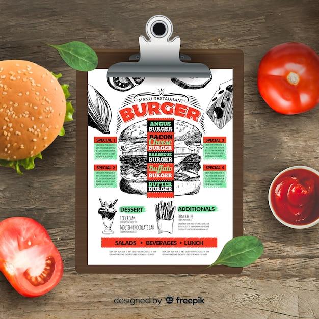 Modelo de menu de hambúrguer retrô mão desenhada Vetor grátis