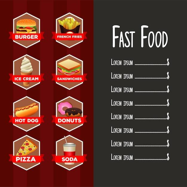 Modelo de menu de lista de fast food delicioso com letras em fundo vermelho e cinza Vetor Premium