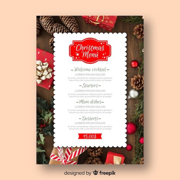 Modelo de menu de natal com foto Vetor grátis